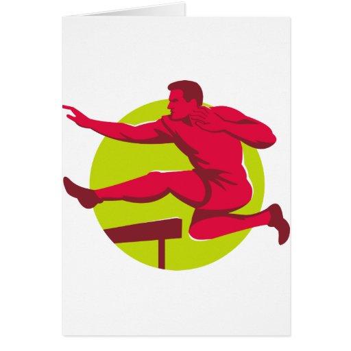 Athlete Jumping Hurdles Greeting Card