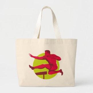 Athlete Jumping Hurdles Large Tote Bag