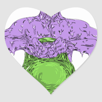 Athlete Lifting Kettle Bell Grime Art Heart Sticker