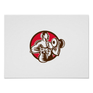 Athlete Lifting Kettlebell Dumbbell Circle Woodcut Poster