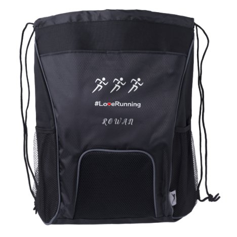 Athlete love running custom initials drawstring backpack