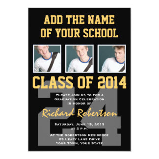Athlete's Graduation Party Black and Gold 5x7 Paper Invitation Card