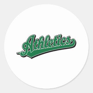 Athletics script logo in green classic round sticker