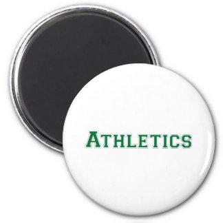 Athletics square logo in green magnet
