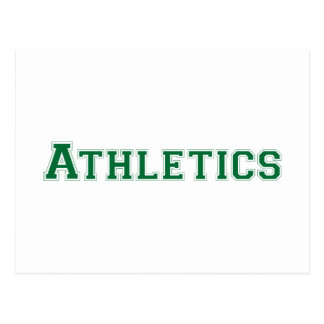 Athletics square logo in green postcard