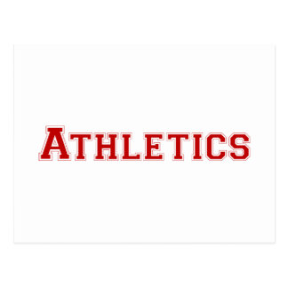 Athletics square logo in red postcard