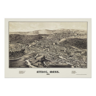 Athol, mapa panorámico del mA - 1887 Poster