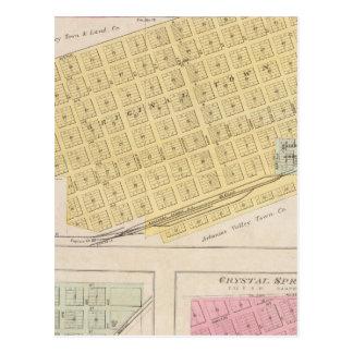 Atica, Crisfield, y Crystal Springs, Kansas Tarjetas Postales