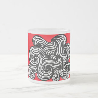 Atkin Abstract Expression Red White Black 10 Oz Frosted Glass Coffee Mug