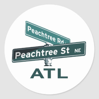 ATL Peachtree Signs Classic Round Sticker
