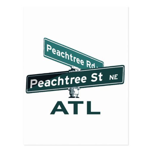 ATL Peachtree Signs Postcard