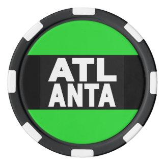 Atlanta 2 Green Set Of Poker Chips