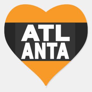 Atlanta 2 Orange Heart Sticker