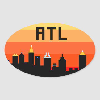 Atlanta 8-Bit Skyline ATL Oval Sticker