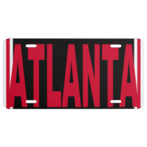 Atlanta Black Red and White License Plate