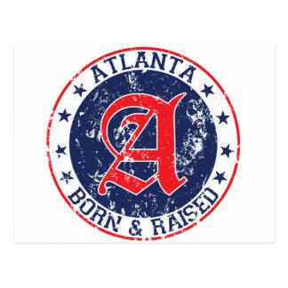 Atlanta born and raised blue postcard