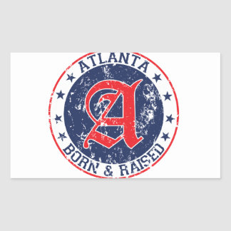 Atlanta born and raised blue rectangular sticker