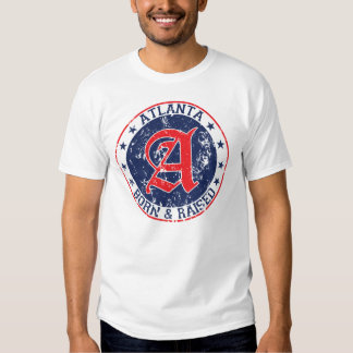 Atlanta born and raised blue tee shirt