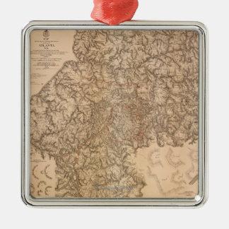 Atlanta Campaign - Civil War Panoramic Map 3 Metal Ornament