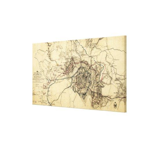 Atlanta Campaign - Civil War Panoramic Map Canvas Print