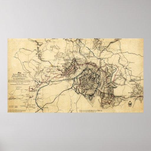 Atlanta Campaign - Civil War Panoramic Map Poster