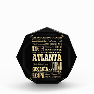 Atlanta City of Georgia State Typography Art Acrylic Award