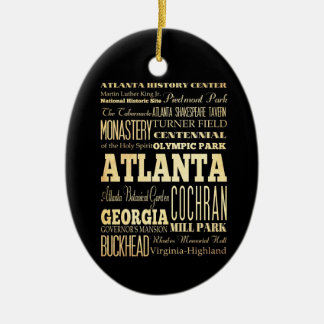 Atlanta City of Georgia State Typography Art Double-Sided Oval Ceramic Christmas Ornament