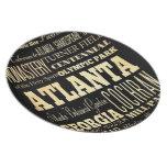 Atlanta City of Georgia State Typography Art Dinner Plate
