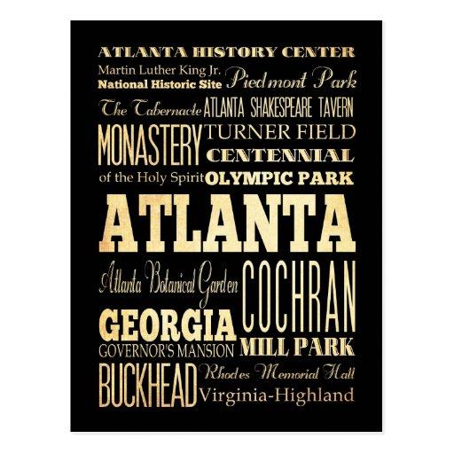 Atlanta City of Georgia State Typography Art Postcard