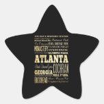 Atlanta City of Georgia State Typography Art Star Sticker