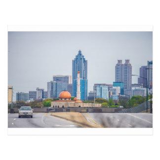 atlanta city skyline in georgia postcard