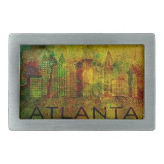 Atlanta City Skyline on Grunge Background Illustra Belt Buckle