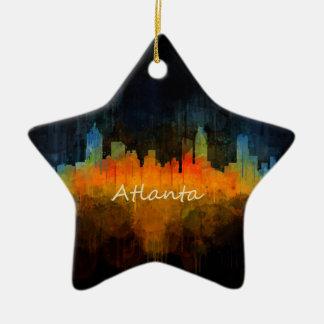 Atlanta City Watercolor Skyline v4 Dark Ceramic Ornament