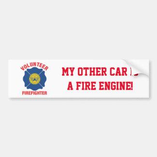 Atlanta, GA Flag Volunteer Firefighter Cross Car Bumper Sticker