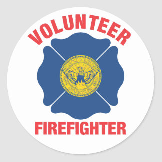 Atlanta, GA Flag Volunteer Firefighter Cross Classic Round Sticker