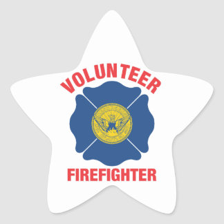 Atlanta, GA Flag Volunteer Firefighter Cross Star Sticker