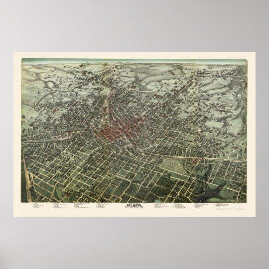 Atlanta Ga Panoramic Map 1892 Poster Zazzle Com