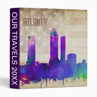 Atlanta, GA   Watercolor City Skyline 3 Ring Binder