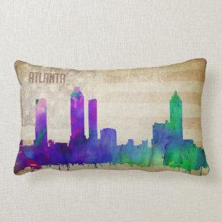 Atlanta, GA   Watercolor City Skyline Lumbar Pillow