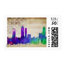 Atlanta, GA | Watercolor City Skyline Postage