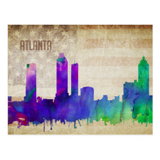 Atlanta, GA | Watercolor City Skyline Postcard