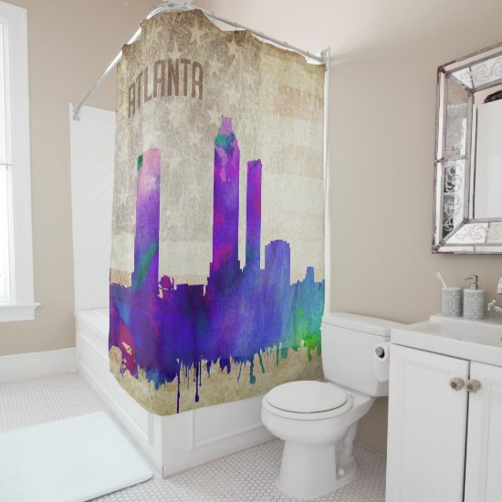 Atlanta, GA | Watercolor City Skyline Shower Curtain