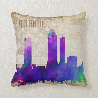 Atlanta, GA   Watercolor City Skyline Throw Pillow