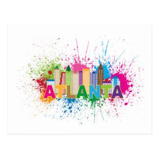 Atlanta Georgia Abstract Skyline Illustration Postcard