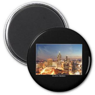 Atlanta, Georgia at Night - Beautiful Skyline 2 Inch Round Magnet