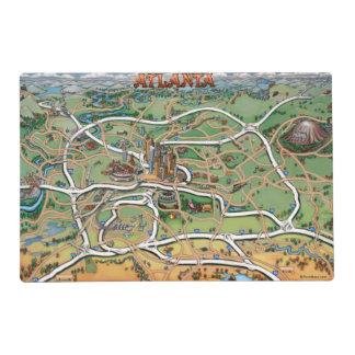 Atlanta Georgia Cartoon Map Placemat