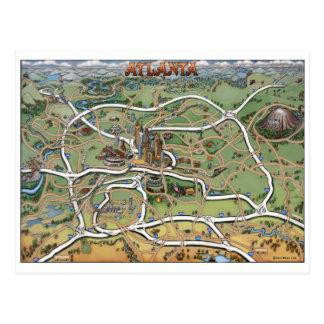 Atlanta Georgia Cartoon Map Postcard