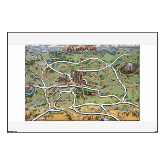 Atlanta Georgia Cartoon Map Wall Decal