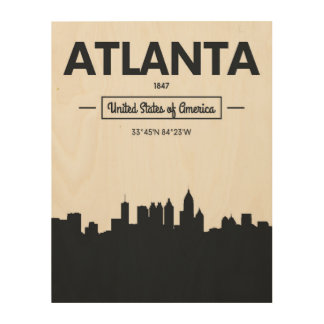 Atlanta, Georgia | City Coordinates Wood Wall Art