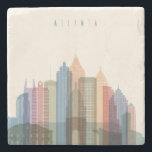 "Atlanta, Georgia | City Skyline Stone Coaster<br><div class=""desc"">Transparent styled Atlanta state Georgia skyline detailed silhouette. 